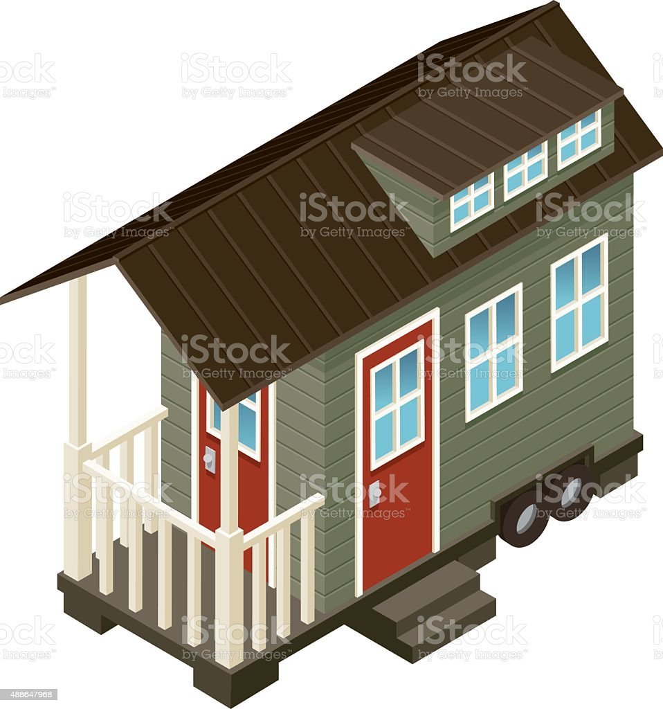 Tiny House Isometric Icon vector art illustration