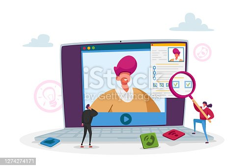 Tiny Hr Department Employee Characters Read Candidate Resume on Huge Pc Screen for Online Interview and Work Employment