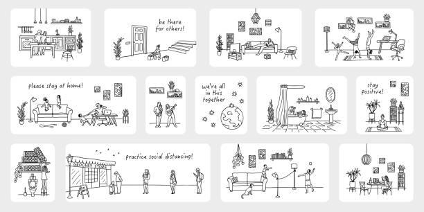 Tiny illustrations of people in quarantine - Coronavirus pandemic 2020 vector art illustration