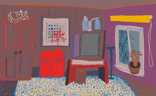 A tiny interior space - bedroom.