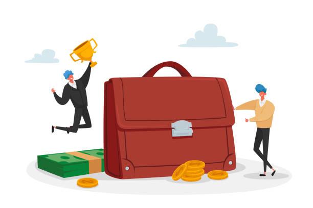 巨大なブリーフケースの小さな投資家男性キャラクターは、ゴールデンゴブレットで勝利を祝います。投資ポートフォリオ、株式市場取引 - 投資家点のイラスト素材/クリップアート素材/マンガ素材/アイコン素材