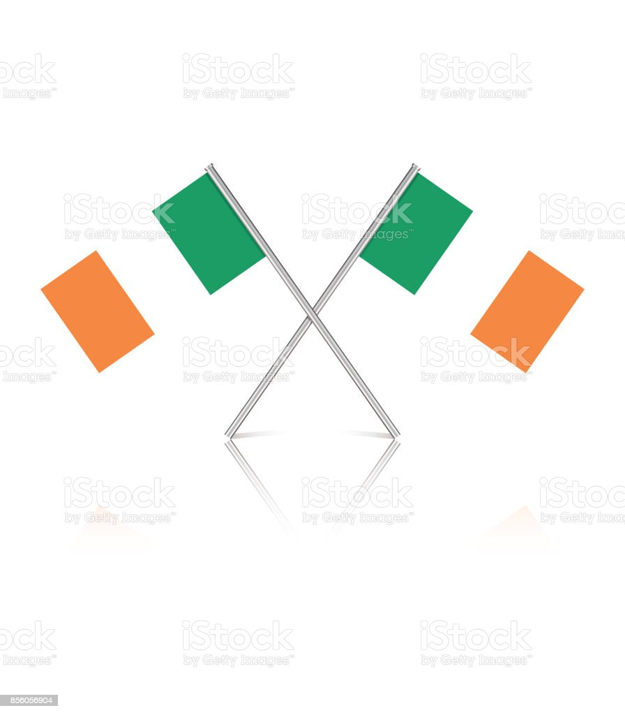 Pequeñas banderas irlandesas sobre fondo blanco reflectante - ilustración de arte vectorial