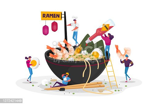 istock Tiny Male and Female Characters Cooking and Eating Ramen or Pasta, People Put Condiments in Huge Bowl with Noodles 1272421449
