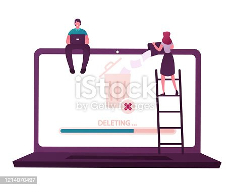 Tiny Male and Female Characters Deleting Data. Man Sitting on Huge Laptop Working on Pc, Woman Throw File from Litter Bin to Waste Basket on Computer Desktop Screen. Cartoon People Vector Illustration