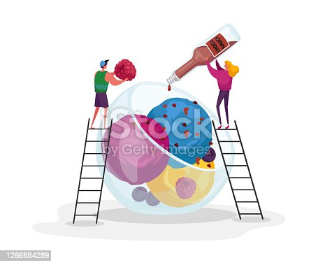 istock Tiny Male and Female Characters on Ladders Decorate Huge Ice Cream with Choco Topping and Raspberry. Sweet Fruit Dessert 1266684289