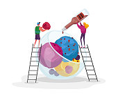 Tiny Male and Female Characters on Ladders Decorate Huge Ice Cream with Choco Topping and Raspberry. Sweet Fruit Dessert Balls in Glass Bowl. Summer Food, Icecream. Cartoon People Vector Illustration