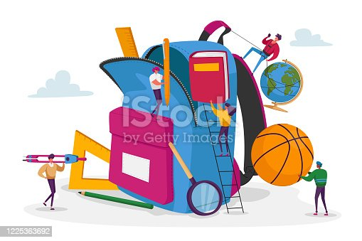 Tiny Male and Female Characters Put in Huge Backpack Educational Tools, Stationery Ball, Globe and Book for Different Disciplines. Back to School, Education Concept. Cartoon People Vector Illustration