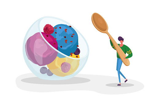 Tiny Male Character Carry Huge Spoon in Hand for Eating Fruit Ice Cream Scoop Balls in Glass Bowl. Summer Time Food