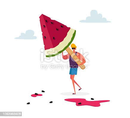 Tiny Male Character Carry Huge Watermelon Ice Cream Popsicle on Wooden Stick. Summer Delicious Sweet Dessert, Cold Treat