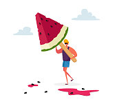 istock Tiny Male Character Carry Huge Watermelon Ice Cream Popsicle on Wooden Stick. Summer Delicious Sweet Dessert, Cold Treat 1263965928