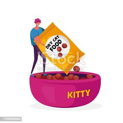 Tiny Male Character Holding Package with Dry Food for Cat Put in Huge Bowl. Man Pour Kitten Snack to Plate to Feed Kitty