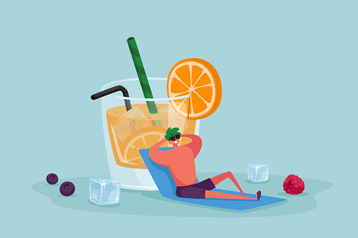 Tiny Male Character in Sunglasses Relaxing Sitting at Huge Glass with Orange Juice, Slice and Straw. Man Enjoying Summertime Vacation, Drinking Cold Drink at Summer Time. Cartoon Vector Illustration