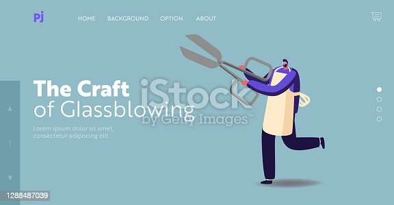istock Tiny Male Character Wearing Apron Holding Huge Scissors Landing Page Template. Barber with Tool for Hair Cutting 1288487039