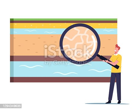 Tiny Male Character with Huge Magnifying Glass Presenting Earth Layers Cross Section View for Groundwater or Artesian Water Well Drilling, Resource Extraction Concept. Cartoon Vector Illustration