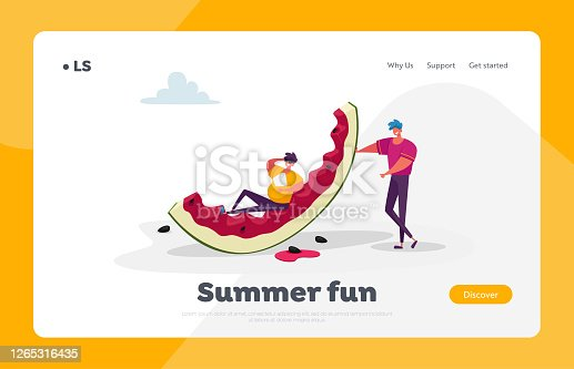 Tiny Male Characters with Huge Watermelon Landing Page Template. Summertime Leisure, People Enjoying Summer Vacation