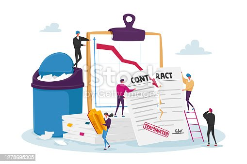 istock Tiny Male Female Characters at Huge Document Tear Terminated Contract with Scattered Paper Sheets and Litter Bin, Crisis 1278695305
