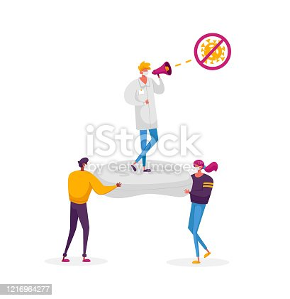istock Tiny Male Female Characters Wearing Medical Facial Masks Carry Huge Antibacterial Soap with Doctor in White Labcoat Informing People Using Loudspeaker to Stay Home. Cartoon People Vector Illustration 1216964277