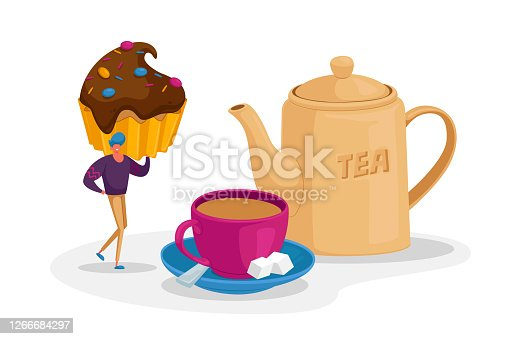 Tiny Man Character Hold Cupcake with Chocolate Topping and Sprinkles Stand at Huge Cup with Tea, Sugar Cubes and Teapot
