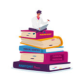istock Tiny Man Medical Intern in White Robe Work on Laptop Sitting on Huge Books Pile Prepare for Examination, Learning 1282216370