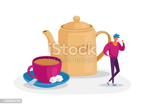 Tiny Man Stand at Huge Porcelain Cup with Saucer, Spoon and Cane Sugar Cubes and Teapot. Male Character Drinking Tea, Still-life, Refreshment and Hospitality Concept. Cartoon Vector Illustration