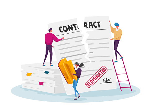 Tiny Characters Male Tear Huge Contract Document Stand on Pile of Paper Sheets. Woman with Stamp, Crisis, Terminated Agreement, Bankruptcy or Cancellation Concept. Cartoon People Vector Illustration