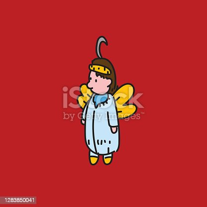 istock Tiny miniature angel ornament. Christmas ornament to be hanged in a Christmas tree. Colorful with Christmas red. 1283850041