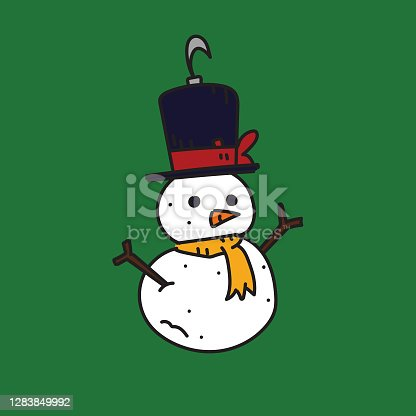 istock Tiny miniature snowman ornament. Christmas ornament to be hanged in a Christmas tree. Colorful with Christmas red and green. 1283849992