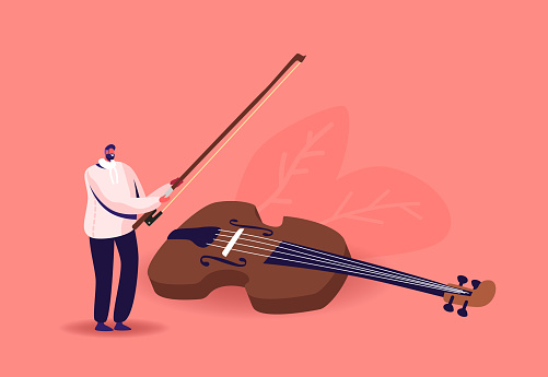 Tiny Musician Character with Huge Violin and Bow. Man with String Instrument Perform on Stage. Symphony Orchestra