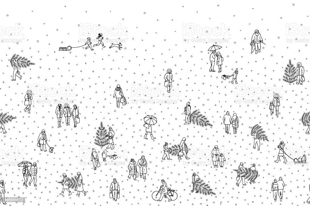 Tiny pedestrians walking in winter through the city vector art illustration