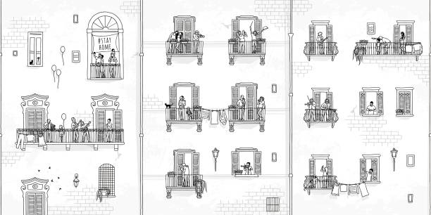 Tiny people at home, making music from their balconies vector art illustration