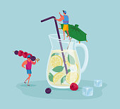 istock Tiny People at Huge Glass Jug with Lemonade or Juice with Lemon Slices, Ice Cubes, Mint Leaves and Straw. Male Characters Drinking Cold Drinks and Sweet Beverage at Summer. Cartoon Vector Illustration 1249621997