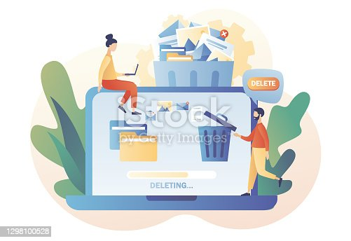 istock Tiny people deleting data on laptop and move unnecessary files to the trash bin. Delete concept. Cleaning digital memory. Modern flat cartoon style. Vector illustration on white background 1298100528