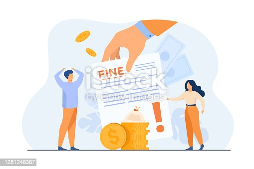 istock Tiny people getting paper sheet with fine 1281246367
