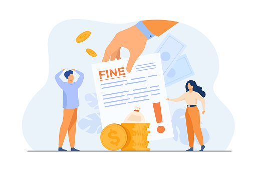 Tiny people getting paper sheet with fine flat vector illustration. Cartoon characters paying traffic bill, municipal tax or parking fee as penalty from police. Financial mulct or punishment concept