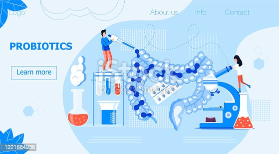 Tiny people give intestine probiotic bacteria, lactobacillus. Healthcare landing page, immunity support concept vector for horizontal banner, poster, flyer, website. Symbol of useful milk products.