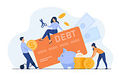 istock Tiny people in trap of credit card debt 1281246611