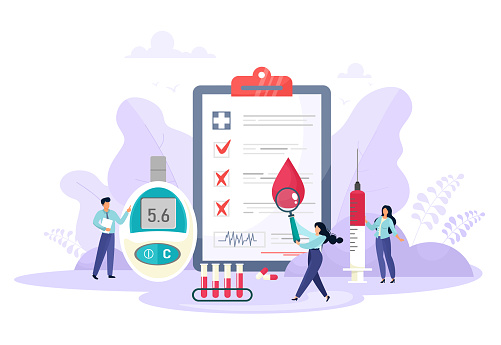 Tiny people, magnifier, test tubes, blood glucose meter, blood, doctors, syringe. Type 2 diabetes and insulin production concept vector. Cartoon flat style.