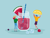 istock Tiny People Put Lemon Slice to Huge Glass Jar with Watermelon Pink Juice, Ice Cubes and Straws. Female Characters Drinking Cold Drinks and Sweet Beverage at Summer Time. Cartoon Vector Illustration 1249621994