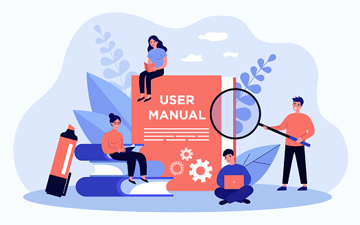 Tiny people reading user manual
