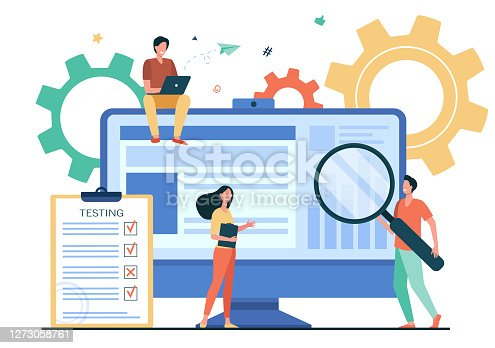 istock Tiny people testing quality assurance in software 1273058761