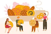 Tiny people with huge cookies and buns, pastry shop assortment, vector illustration. Cartoon characters, men and women holding bakery products. Homemade pastry, freshly baked croissant and pretzel bun