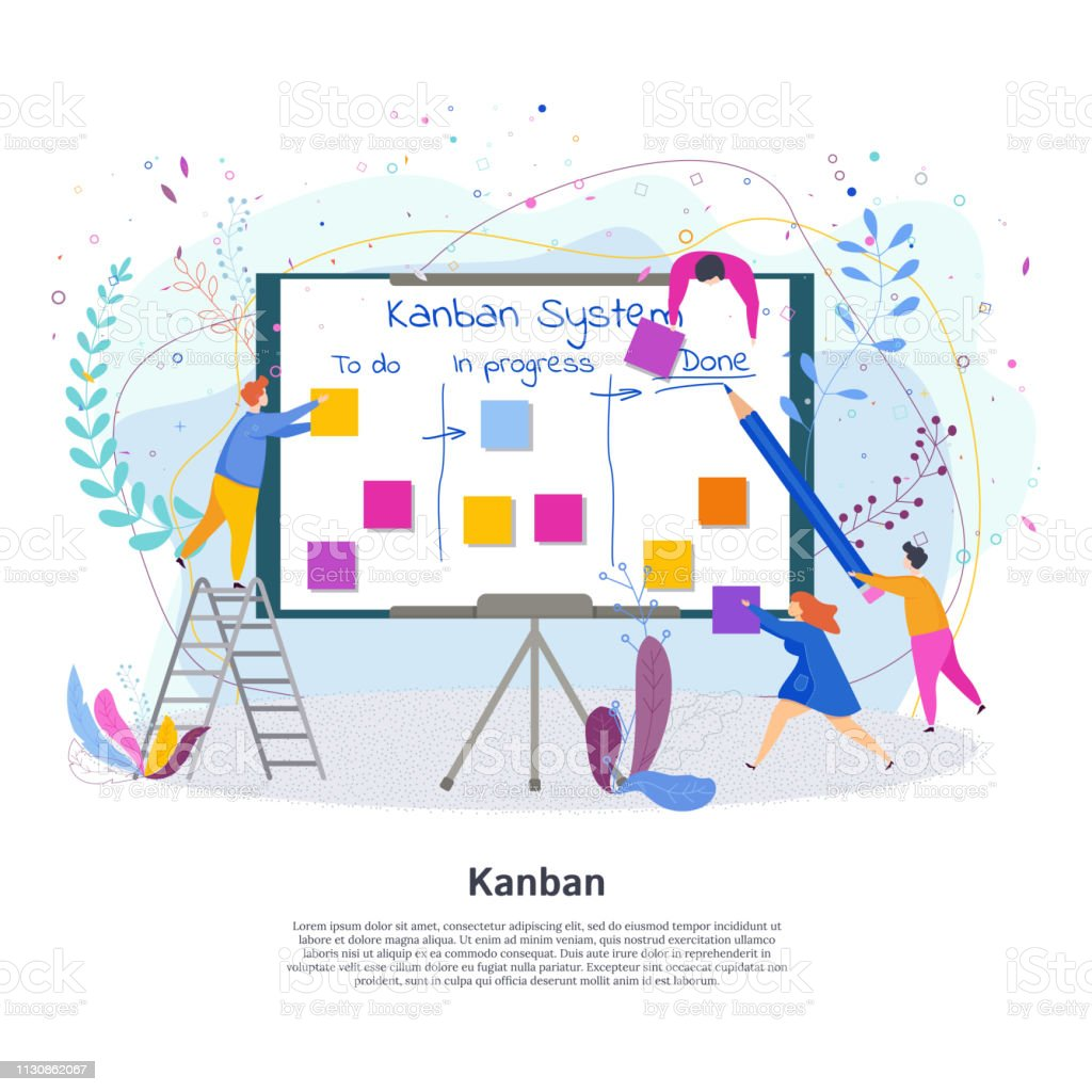 Tiny People With Kanban Project Management System Stock Illustration