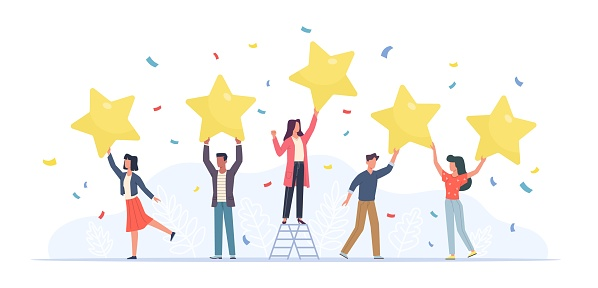Tiny people with stars. Happy customers rate app, site or service. Small women and men give feedback online, clients product review, satisfaction rating social media survey vector flat cartoon concept