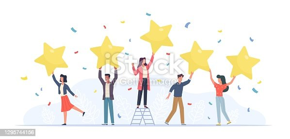 istock Tiny people with stars. Happy customers rate app, site or service. Small women and men give feedback online, clients product review, satisfaction rating social media survey vector concept 1295744156
