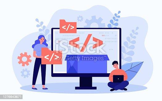 istock Tiny programmers programming website for internet platform 1276643671