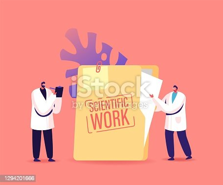 Tiny Scientists Characters Stand at Huge Scientific Work Folder Writing in Clipboard. Doctors Conduct Laboratory Research, Medicine Testing, Investigation Working. Cartoon People Vector Illustration
