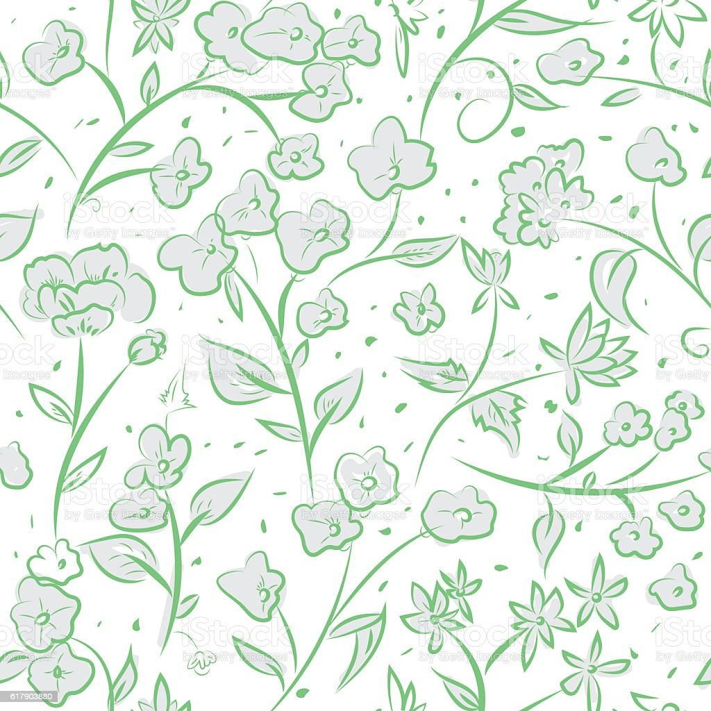 Tiny Spring Flowers Doodle Drawing Pattern Stock Vektor Art Und Mehr