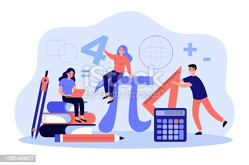 Tiny students learning math in college isolated flat vector illustration. Cartoon geometry figures, algebra formulas and symbols. Guy with ruler, ladies studying. Education and school concept