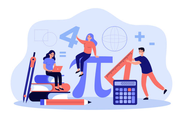 Tiny students learning math in college Tiny students learning math in college isolated flat vector illustration. Cartoon geometry figures, algebra formulas and symbols. Guy with ruler, ladies studying. Education and school concept mathematical symbol stock illustrations