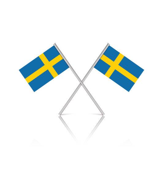 ilustraciones, imágenes clip art, dibujos animados e iconos de stock de pequeñas banderas suecas sobre fondo blanco reflectante - bandera sueca